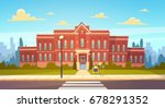 modern school building exterior ... | Shutterstock .eps vector #678291352