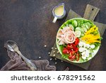 summer salad with vinaigrette... | Shutterstock . vector #678291562