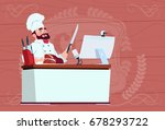 chef cook making video blog... | Shutterstock .eps vector #678293722