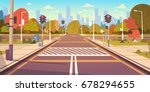 road empty city street with... | Shutterstock .eps vector #678294655