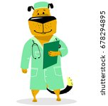 Dog In Costume Of Doctor. Pet...