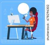 african american girl blogger... | Shutterstock .eps vector #678296302