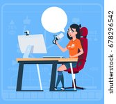 girl blogger sit at computer... | Shutterstock .eps vector #678296542