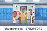 group of arab pupils walking in ...   Shutterstock .eps vector #678298072
