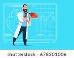 doctor cardiologist examining... | Shutterstock .eps vector #678301006