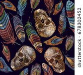 color feathers and indian skull ... | Shutterstock .eps vector #678302452