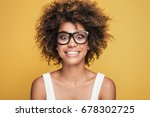 Stock photo young beautiful african american girl with an afro hairstyle attractive girl wearing eyeglasses 678302725