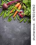 Fresh Vegetables On Rustic...