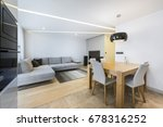 modern living room and kitchen... | Shutterstock . vector #678316252