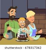 vlittle boy and his lovely... | Shutterstock .eps vector #678317362