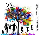 colored tree with a family.... | Shutterstock .eps vector #678323812