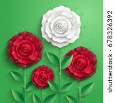 red and white paper roses with... | Shutterstock .eps vector #678326392