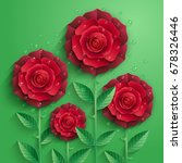 red paper roses with leaves and ... | Shutterstock .eps vector #678326446