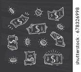 money vector set. hand drawn... | Shutterstock .eps vector #678326998