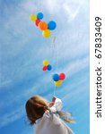 child flying colorful balloons... | Shutterstock . vector #67833409