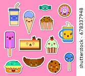 vector set of kawaii food... | Shutterstock .eps vector #678337948