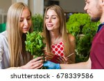 the seller and two blonde women ... | Shutterstock . vector #678339586