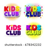 Set Of Kids Club Logo. Letter...
