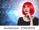 glamorous beautiful woman with... | Shutterstock . vector #678344932