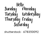 handwritten days of the week ... | Shutterstock .eps vector #678350092