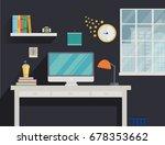 modern workplace interior in... | Shutterstock . vector #678353662