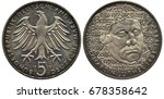 Small photo of Germany German coin 5 five mark 1983, Subject Martin Luther, eagle, date and value below, face in 3/4, lines behind