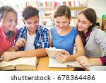 group of students engaged in... | Shutterstock . vector #678364486