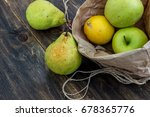 Fresh Fruit In A Craft Bag On ...