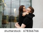 sweet young european couple... | Shutterstock . vector #678366766