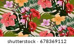 seamless tropical pattern in... | Shutterstock .eps vector #678369112
