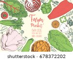 healthy food frame vector... | Shutterstock .eps vector #678372202
