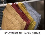 men pants in a fashion store in ... | Shutterstock . vector #678375835