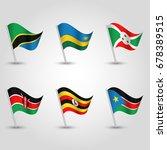 vector set of waving flags... | Shutterstock .eps vector #678389515