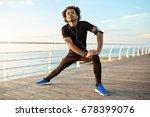 dark skinned male runner with... | Shutterstock . vector #678399076