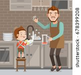 little cute boy washing dishes.... | Shutterstock .eps vector #678399208