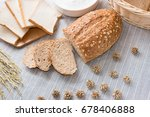 fresh sliced bread on a white... | Shutterstock . vector #678406888