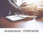 woman resting after reading... | Shutterstock . vector #678416236