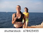 woman plays sports morning jog... | Shutterstock . vector #678425455