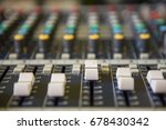 Small photo of Closeup adjustment tools Audio sound mixer music, technology.