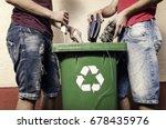 e waste concept  two man... | Shutterstock . vector #678435976