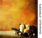 christmas candles and ornaments ...   Shutterstock . vector #678442876