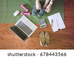 woman work and workout at home... | Shutterstock . vector #678443566