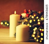 christmas candles and ornaments ... | Shutterstock . vector #678443605