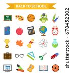 back to school icon set  flat ... | Shutterstock .eps vector #678452302