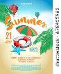 flyer for summer party. beach... | Shutterstock .eps vector #678455962