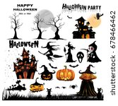 halloween silhouettes. witch ... | Shutterstock .eps vector #678466462