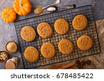 fall snickerdoodle cookies with ... | Shutterstock . vector #678485422