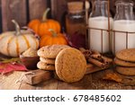 fall snickerdoodle cookies with ... | Shutterstock . vector #678485602