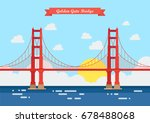 flat style golden gate bridge.... | Shutterstock .eps vector #678488068