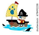 vector cartoon of animal pirate ... | Shutterstock .eps vector #678492238